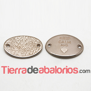 Entrepieza Oval 28x20mm Keep Calm And -Heart- Oro Rosa