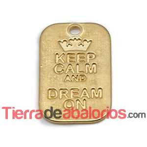 Colgante Keep Calm And Dream on 40x25mm, Dorado