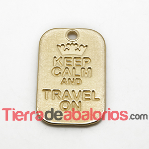 Colgante Keep Calm And Travel On 40x25mm, Dorado
