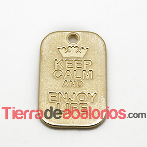 Colgante Keep Calm And Enjoy Life 40x25mm, Dorado