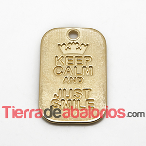 Colgante Keep Calm And Just Smile 40x25mm, Dorado
