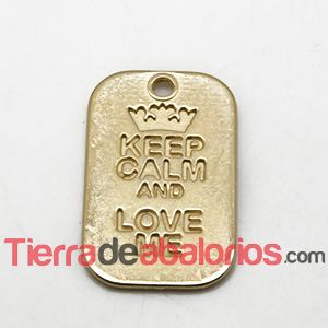 Colgante Keep Calm And Love Me 40x25mm, Dorado