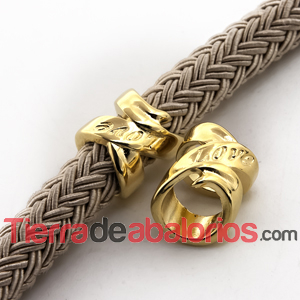Tubo Lazo Love 17x14mm Agujero 10mm, Dorado