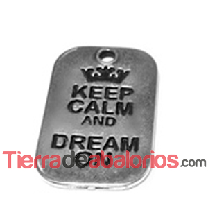 Colgante Keep Calm And Dream On 40x25mm, Plateado