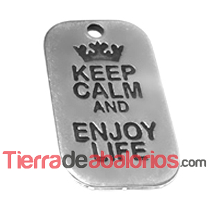 Colgante Keep Calm and Enjoy Life 40x25mm, Plateado