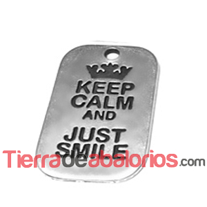 Colgante Keep Calm And Just Smile 40x25mm, Plateado