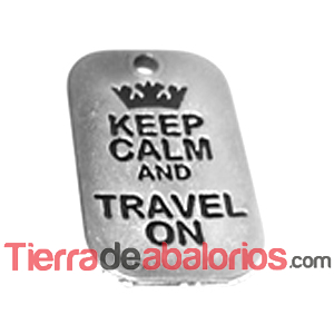 Colgante Keep Calm And Travel On 40x25mm, Plateado
