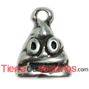 Colgante Emoticono KK 18x13mm, Plateado