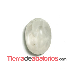 Cabujón Resina Facetas 14x10mm Blanco
