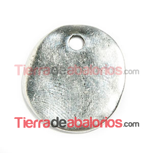 Moneda Lisa Irregular 25mm Agujero 3mm, Plateada