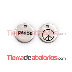 Medalla 14mm Peace, Plateada
