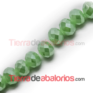Bola Rondel Facetada 6x5mm Agujero 1,4mm Verde Claro Brillo