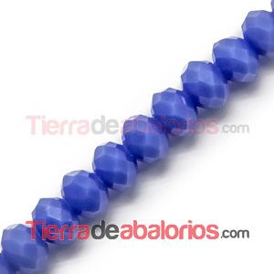 Bola Rondel Facetada 6x5mm Agujero 1,4mm Azulón