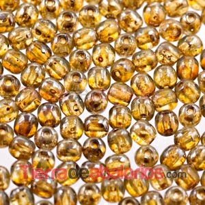 Perla de Cristal Checo 4mm, Yellow Silver Travertin