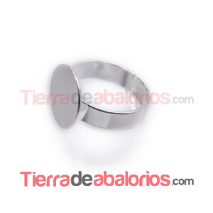 Anillo Ajustable Base Plana Redonda 14mm, Plateado