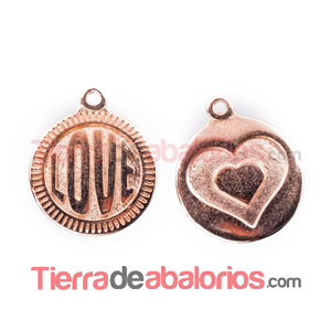 Medalla 15mm Love, Oro Rosa