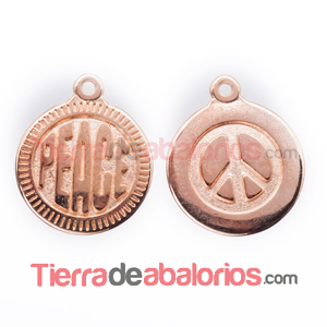 Medalla 15mm Peace, Oro Rosa