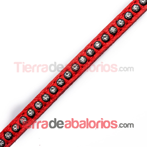Tireta de Cuero 6mm Rojo con Strass (1mt)