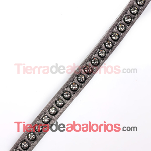 Tireta de Cuero 6mm Gris con Strass (1mt)