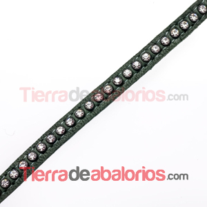 Tireta de Cuero 6mm Verde Militar con Strass (1mt)