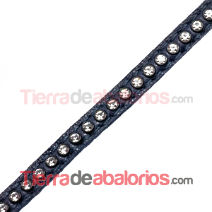 Tireta de Cuero 6mm Azul Marino con Strass (1mt)