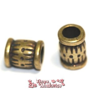 Barril 10x9mm Agujero 5mm Oro Viejo