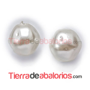 Perla Barroca Irregular de Cristal Checo 6mm, Blanco Perlado