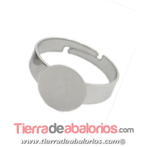 Anillo Ajustable Base Plana Redonda 12mm Plateado