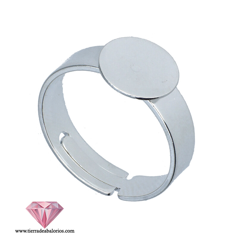 Anillo Ajustable Base Plana Redonda 16mm Plateada