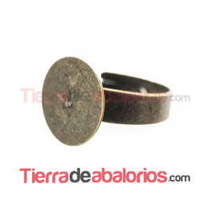 Anillo Ajustable Base Plana Redonda 14mm Oro Viejo