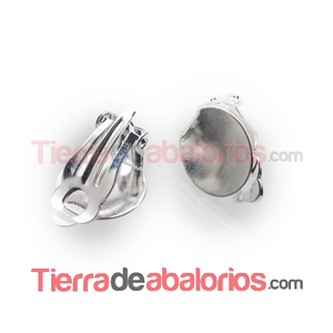 Pendiente Clip Base Disco Plano de 12mm, Plateado