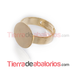 Anillo Ajustable Base Plana Redonda 14mm, Dorado