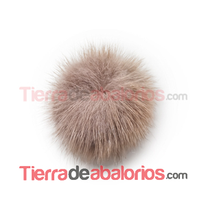 Pompon de Visón 40mm Marrón Claro