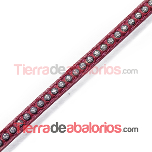 Tireta de Cuero 6mm Dark Red con Strass (1mt)