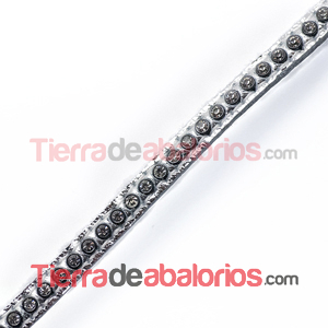 Tireta de Cuero 6mm Plateada con Strass (1mt)