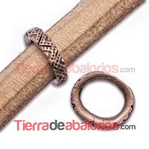 Aro Regaliz Triangulos y Puntos 15x13mm Cobre