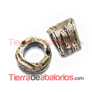 Tubo Irregular 7x9mm Agujero 5,5mm Oro Viejo