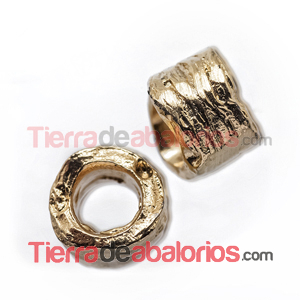 Tubo Irregular 7x9mm Agujero 5,5mm Dorado