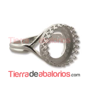 Anillo Ajustable con Ribete 14mm, Plateado