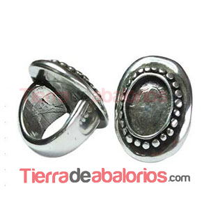 Anillo Ajustable Camafeo 35x25mm, Plateado