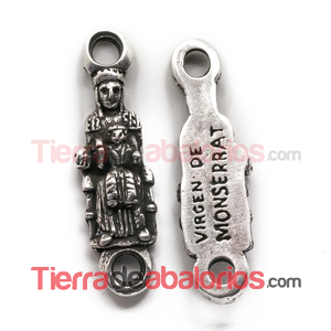 Conector 45x12mm Virgen de Monserrat, Plateada