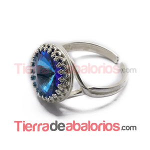 Anillo Ajustable con Ribete 12mm, Plateado