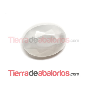 Cabujón Oval Facetado 25x18mm White Silky
