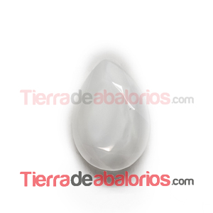 Cabujón Pearshape 25x18mm White Silky