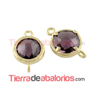 Conector Cristal Facetado 18x12mm Light Amethyst, Dorado