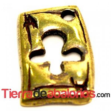 Naipe Colgante As de Trebol 12x10mm - Oro Viejo