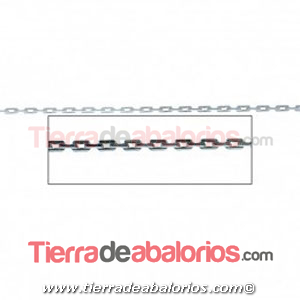 Cadena Rectangular Diamantada 2x1,2mm, Plata de Ley (20cm)