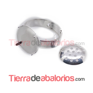Anillo Ajustable con Regadera Base 17mm -  Plateado