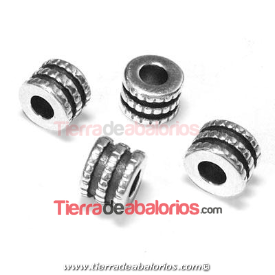 Tubo Triple 6,6x5mm, Agujero 2,9mm, Plateada