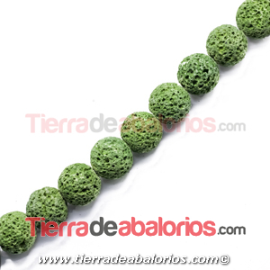 Lava Volcánica Bola 14mm Agujero 1,5mm Verde Aguacate